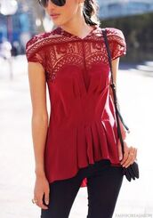 top,burgundy,red t-shirt,red top,lace,sweetheart,sweetheart neckline,short sleeve,cinched waist,pleated,ruffle,high,high low,hi lo,asymmetrical,shirt