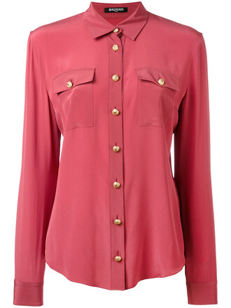 shirt women silk purple pink top