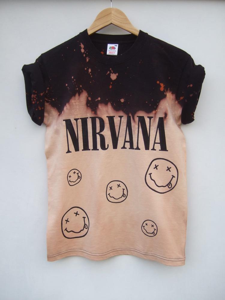 Tappington and wish — nirvana faces acid wash t shirt