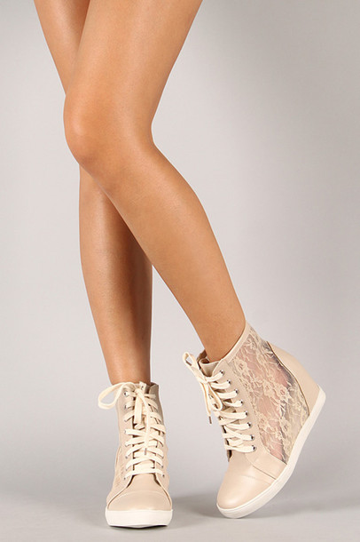 beige wedge sneakers