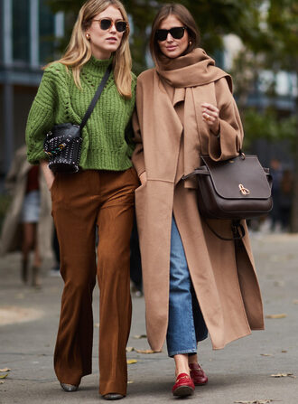 pants brown pants camel coat tumblr coat camel camel long coat long coat shoes loafers red loafers sweater knit knitted sweater