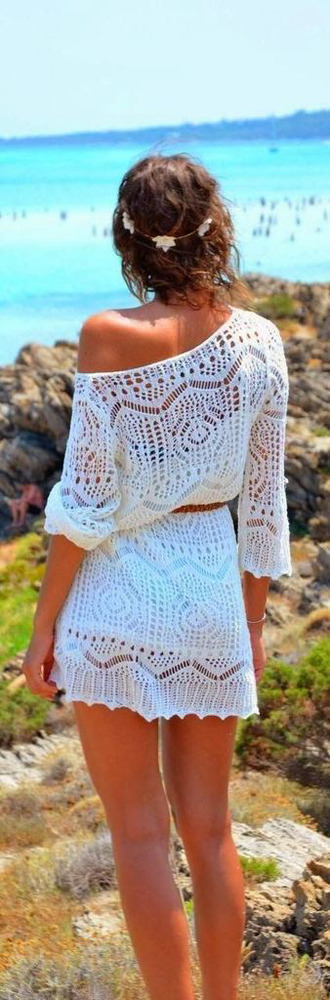 dress summer dress summer outfits cute dress sundress beach dress hot weather jewels sexy headband white lace off shoulder dress white crochet dress white boho crochet knitted off the shoulder belted