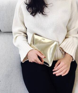 sweater fair trade white sweater bag clutch metallic clutch pouch pants black pants curvy plus size