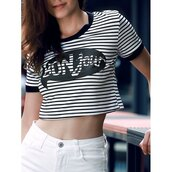 top,stripes,black and white,fashion,crop tops,streetwear,casual,summer,rosewholesale.com
