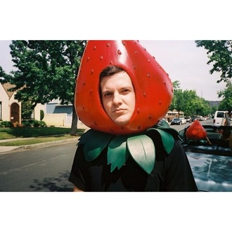 hat costume mask strawberry edm funny