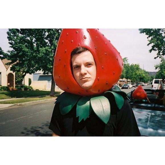 funny hat costume mask strawberry edm