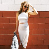 top,rachel pally,white,crop tops,skirt,matching set,revolve clothing,revolveme,revolve