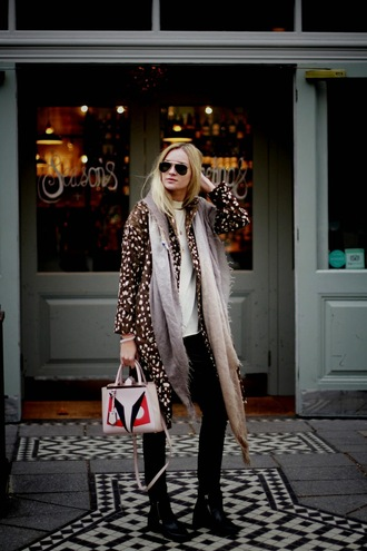 coat faux deer deer deer pattern deer skin faux fur jacket faux fur faux fur coat long coat throw on animal print streetwear streetstyle blogger bloggerstyle topshop asos