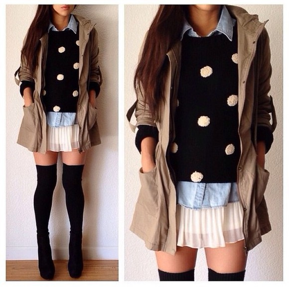 polka dot sweater black and white