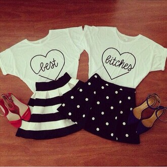 t-shirt skirt shirt blouse white polka dots black party cute bff best friend shirt heart skirt shirt both striped skirt best bitches any color friends shirts top best friends top white top black skirt