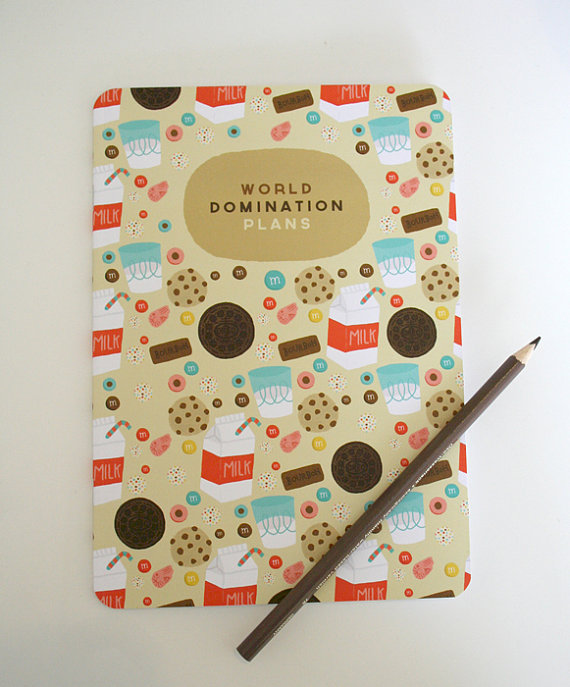 A5 blank notebook 'world domination plans'  by stephsayshello
