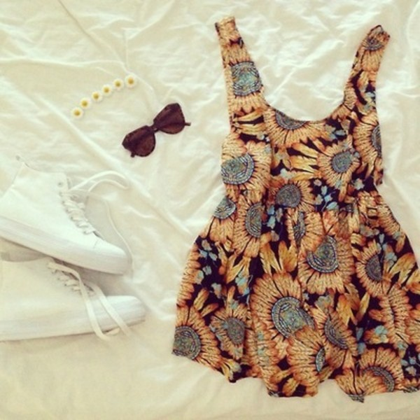 dress sunflower orange sunglasses white shoes white shoes daisy flower crown sunflower dress dark sunglasses cat eye short dress daisy chain daisy necklace cat eye white sneakers jewels