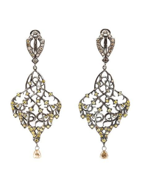 Loree Rodkin women earrings gold white brown grey metallic jewels