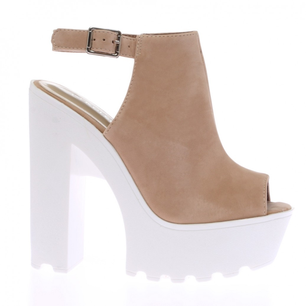 Nude Suede High Heeled Cleated Sole Platforms