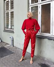 sweater,turtleneck,red,leather pants,high waisted pants,mules,wool sweater
