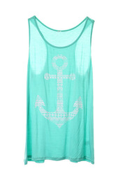 tank top,summer,anchor,mint,racerback,racerback tanktop,free shipping,bandeau,beach