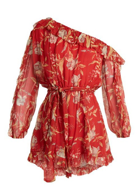 floral print silk red romper