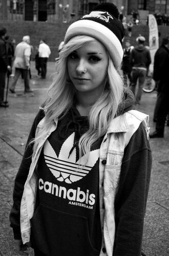 blouse hoodie clothes weed amsterdam marijuana black shirt sweatshirt blonde hair piercing