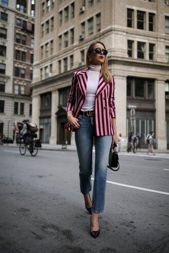 jacket striped blazer tumblr blazer stripes denim jeans blue jeans sunglasses top turtleneck white turtleneck top