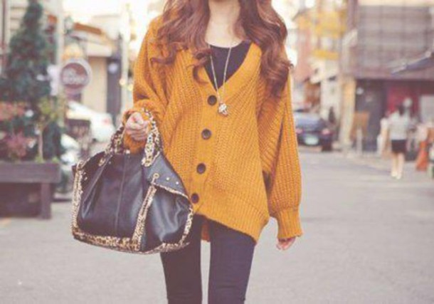 Cardigan: orange, oversized cardigan, tumblr clothes, indie ...