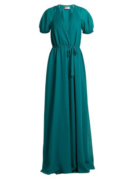 lanvin gown silk green dress