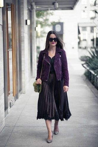 thestyledfox blogger skirt jacket tank top bag shoes fall outfits pleated skirt purple jacket furry bag pumps
