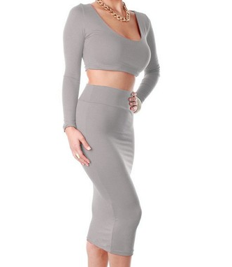 High waisted cropped 2 piece casual bodycon dress