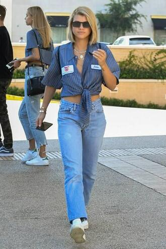 jeans shirt sofia richie sneakers streetstyle model off-duty
