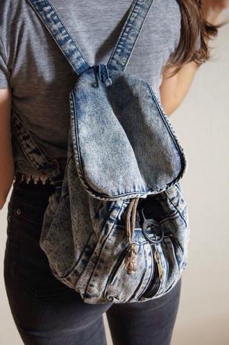 bag grunge backpack denim acid wash denim backpack