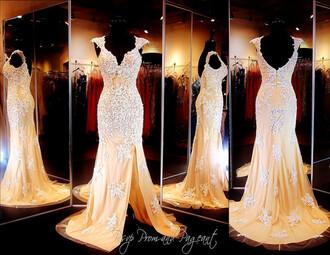 lace prom dress lace dress white lace dress nude prom dress prom dress formal event outfit backless prom dress