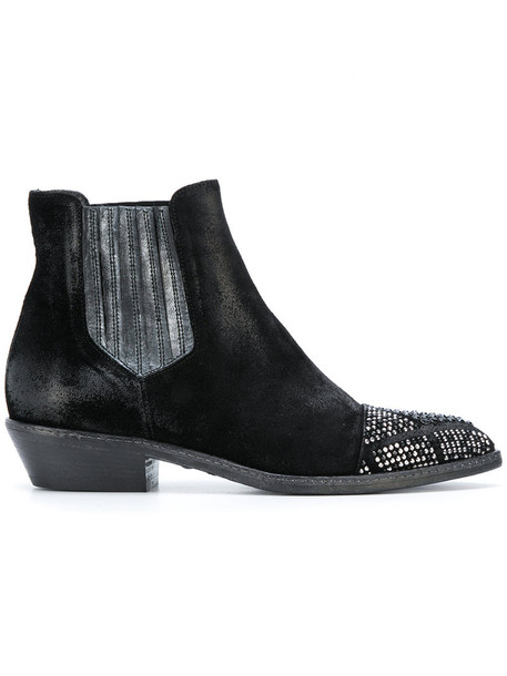 Fausto Zenga women embellished chelsea boots leather suede black shoes