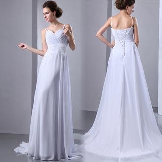 dress wedding dress wedding clothes chiffon wedding dresses beach wedding dress white dress white wedding prom dress prom dress