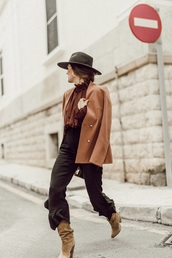 jacket,blazer,top,rust,pants,black pants,boots,slouchy boots,nude boots,hat,felt hat,fedora