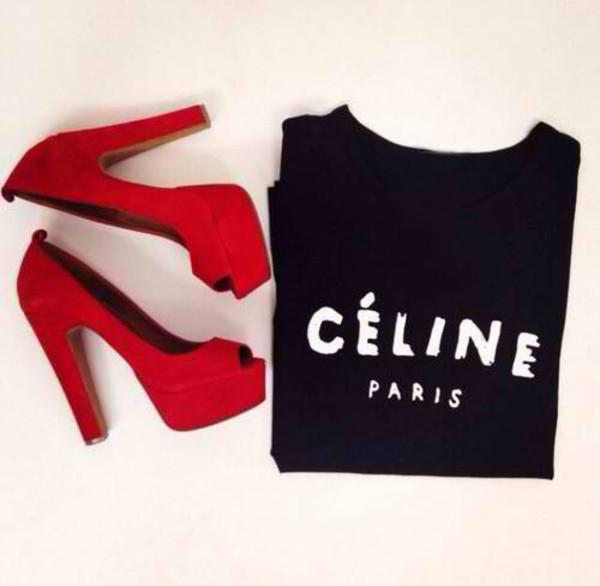 t-shirt t-shirt celine shoes