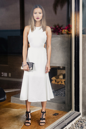 dress midi dress white dress white sandals cut-out summer dress summer outfits jamie chung shoes blogger