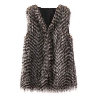 stripes jacket vest faux fur stylish party wear going out top cool jacket
