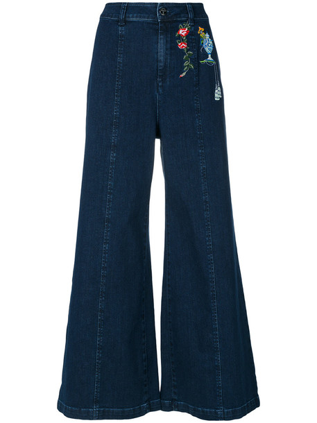 VIVETTA jeans embroidered women spandex cotton blue