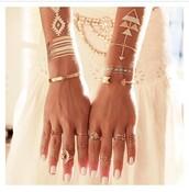 jewels,boho,bohemian,gypsy,ring,bracelets,make-up,temporary tattoo,lifestyle,boho jewelry