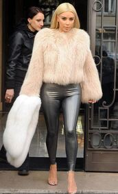 fur coat,fur,kim kardashian,fashion,leggings,shoes,nude heels,high heels,strappy heels,metallic,jeggings,pants,keeping up with the kardashians