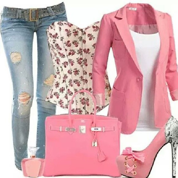 paris hilton bag pink perfection i want everything please help. summer outfits jacket jeans