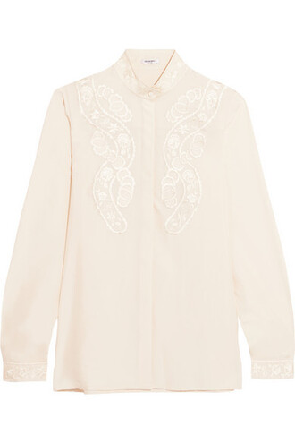 blouse embroidered silk top