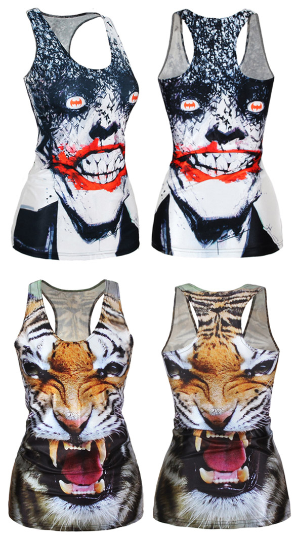 Women Summer Sexy Digital Printing Vest Tops Tank Top Sleeveless