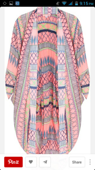 kaftan cardigan tribal pattern