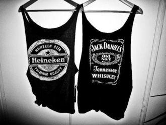 jack daniel's black t-shirt love jack daniel heineken clothes tank top shirt swag