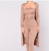 jumpsuit,jump suit,cardigan,new york city,long cardigan,nude,long sleeves,bodycon,party outfits,sexy,sexy outfit,summer outfits,spring outfits,fall outfits,winter outfits,classy,elegant,date outfit,clubwear,wedding clothes,wedding guest,summer holidays