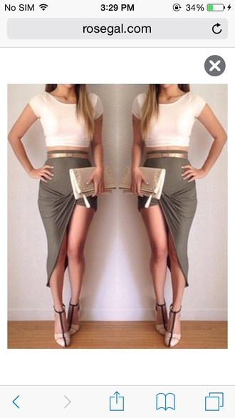 asymmetrical asymmetrical skirt draped draped skirt olive green clutch date outfit summer outfits spring outfits belt t-strap heels cropped t-shirt