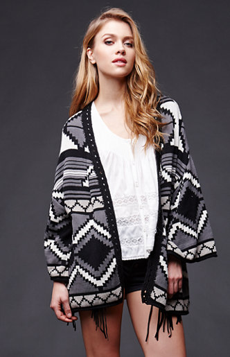 House of harlow jacquard fringe cardigan at pacsun.com