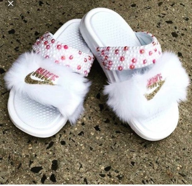6d223563b1175c shoes pink slide shoes fur slides custom slides nike white bling bling  slides faux fur faux