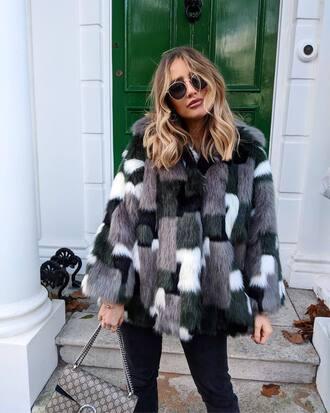 coat tumblr fur coat faux fur coat patchwork oversized coat oversized sunglasses