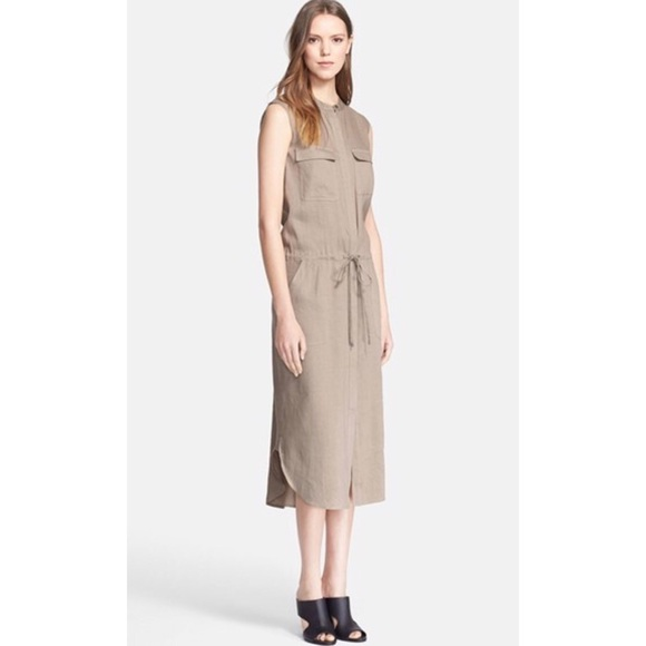 Vince Dresses | Cargo Linen Midi Dress | Poshmark